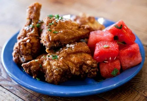 Fried chicken, waffles and watermelon at Yardbird. Photo courtesy Yardbird.