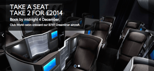 Between now and December 4, 2014, book ~$1,580 business class fares from the UK on British Airways.