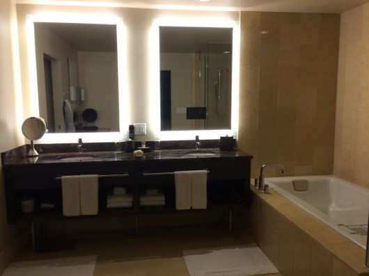 The bathroom featured a double vanity sink.