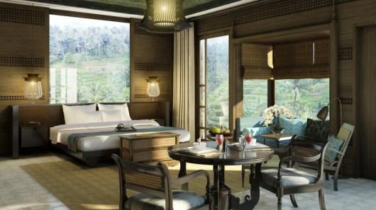 A suite rendering at the new Mandapa Ritz-Carlton Retreat in Bali.