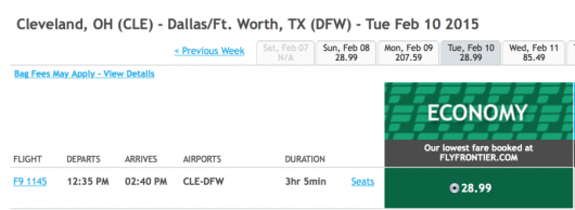 Fly from Cleveland to Dallas/Ft. Worth for only $29 each way.