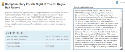 St Regis Bali Fourth Night Free