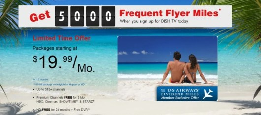 US Airways dish network tv promotion