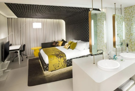 A guest room at the W Bogota.