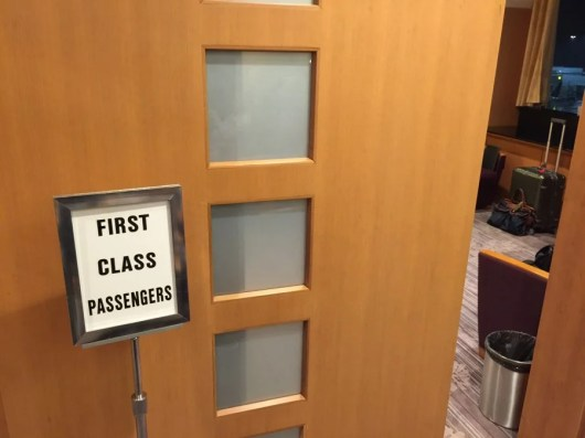 There's a sign that says there's a first-class area at SFO's Sakura Lounge—so it must be true.