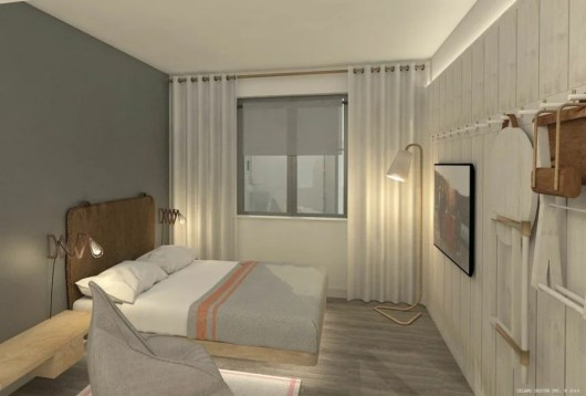 Moxy's spare guest rooms focus on functionality rather than extra space.