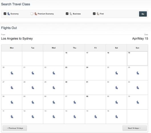 Qantas calendar