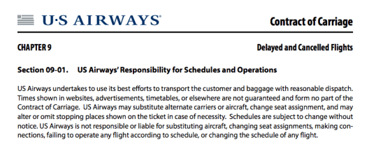 Most airlines' Contracts of Carriage assume no liability for equipment changes or downgraded amenities.