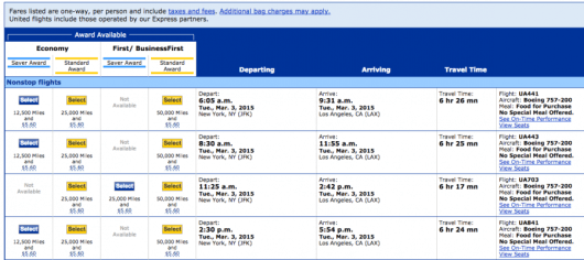 As an example for PointsMatch, I chose a JFK-LAX route on United in early March with saver award availability.