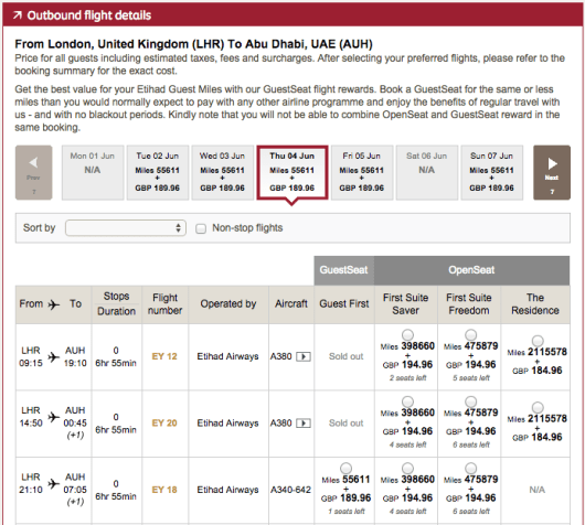 Sample results for a one-way first class award from London-Heathrow to Abu Dhabi