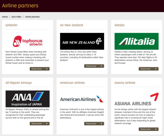 Etihad's airline partners include representation from all three major alliances.