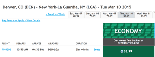 Fly from Denver to New York (LGA) for $39 one-way.