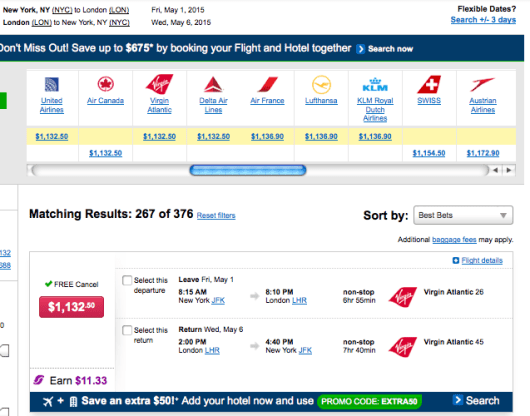 Economy fares on competitors are $125 higher.
