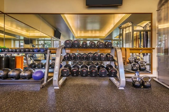 A solid selection of free weights at the Grand Hyatt Kauai Resort fitness center