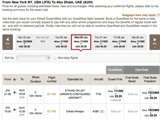 Currently no award availability on the A380 in First.