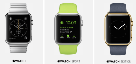 The Apple Watch comes in a standard, sport, and edition series.