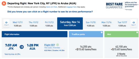 To use JetBlue TrueBlue points, it would cost 62,500 miles one-way.