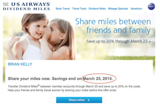 The last day to share miles is March 25, 2015.