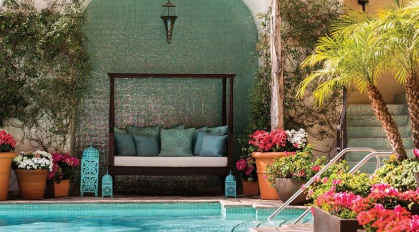 The Beverly Wilshire Hotel pool and lounge area