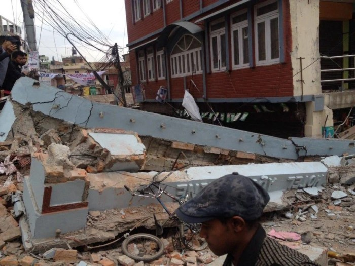 Destruction following the earthquake in Nepal