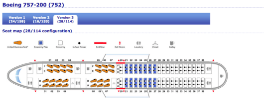 United's p.s. fleet consists of reconfigured 757-200s with 28 BusinessFirst seats.