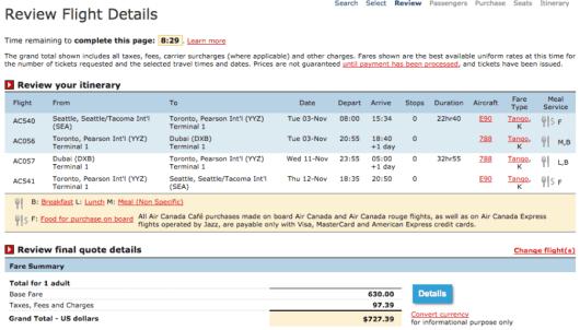 Seattle-Dubai booking through Air Canada