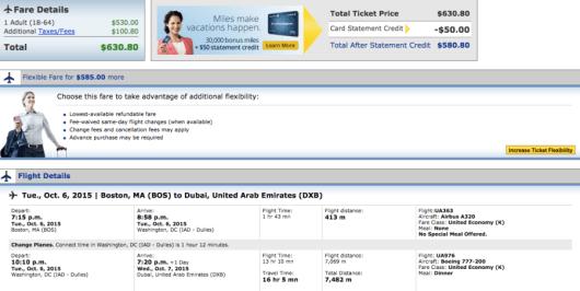 Boston-Dubai booking through United
