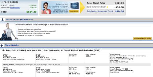 New York-Dubai booking through United.