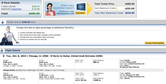 Chicago-Dubai booking through United.