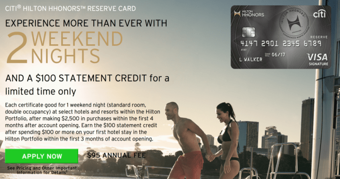 With this limited time offer, you'll earn two free weekend nights plus a $100 statement credit.
