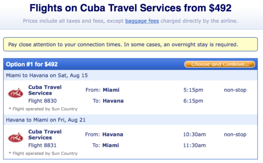 Fly from Miami-Havana on a Sun Country charter flight.