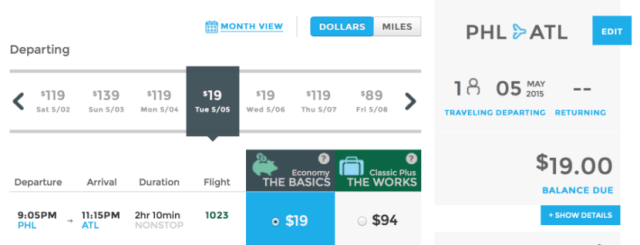 Head from Philadelphia to Atlanta for $19 one-way.