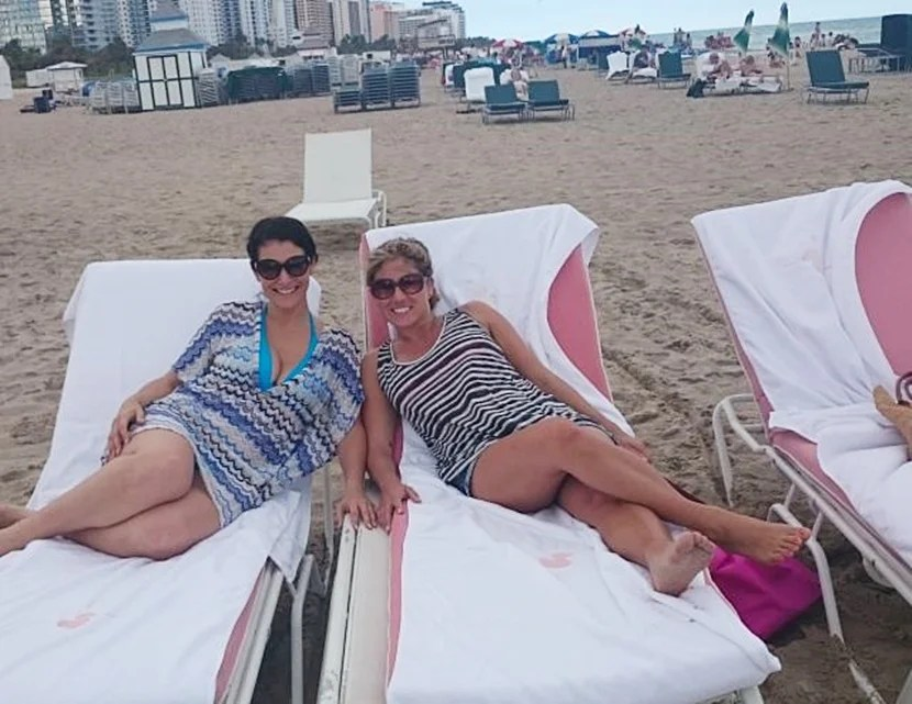 That's our travel editor Melanie on the left, and yours truly on the right — lounging at the SLS' beach.