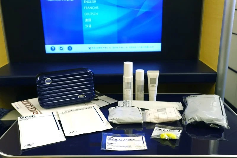 A Rimowa amenity kit was waiting at each seat.