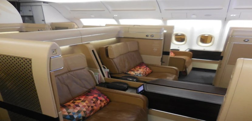 The seats on Etihad's 777-300ERs all face front in first class.