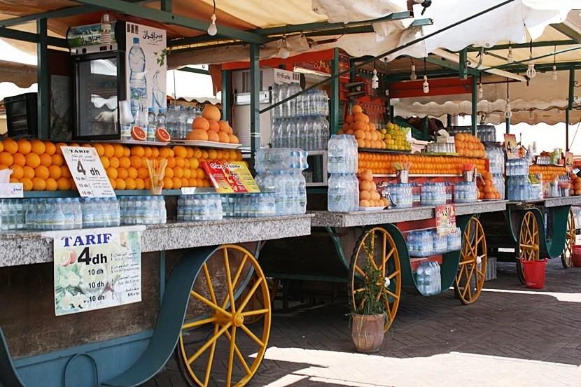 What may be some of the best fresh-squeezed orange juice in the world, found the the Jemaa El Fna Square. Photo by Lori Zaino.