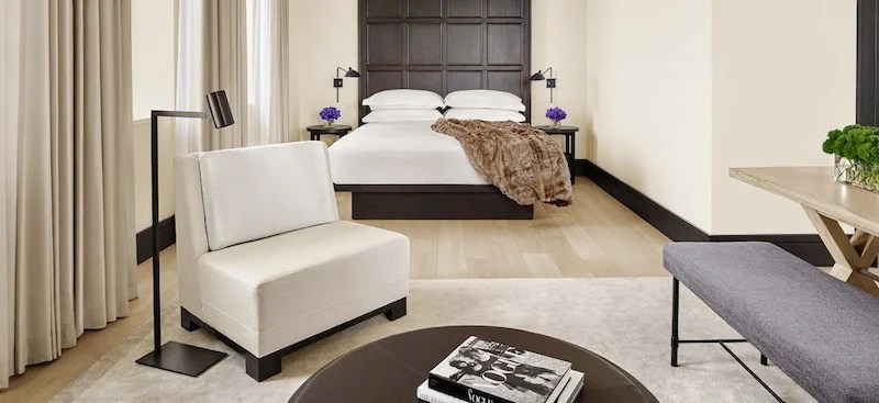 A guestroom at the New York Edition Hotel.