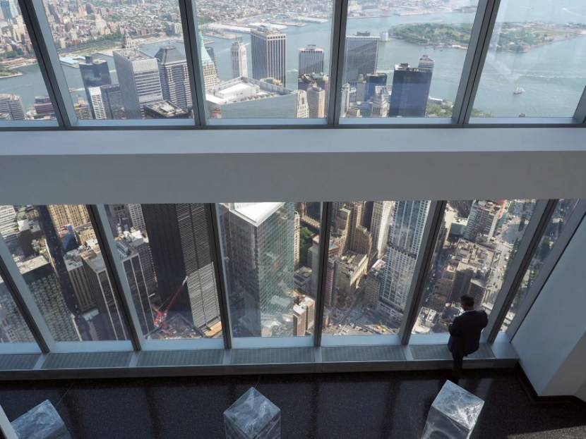 Looking down from the 101st floor of One World Observatory.