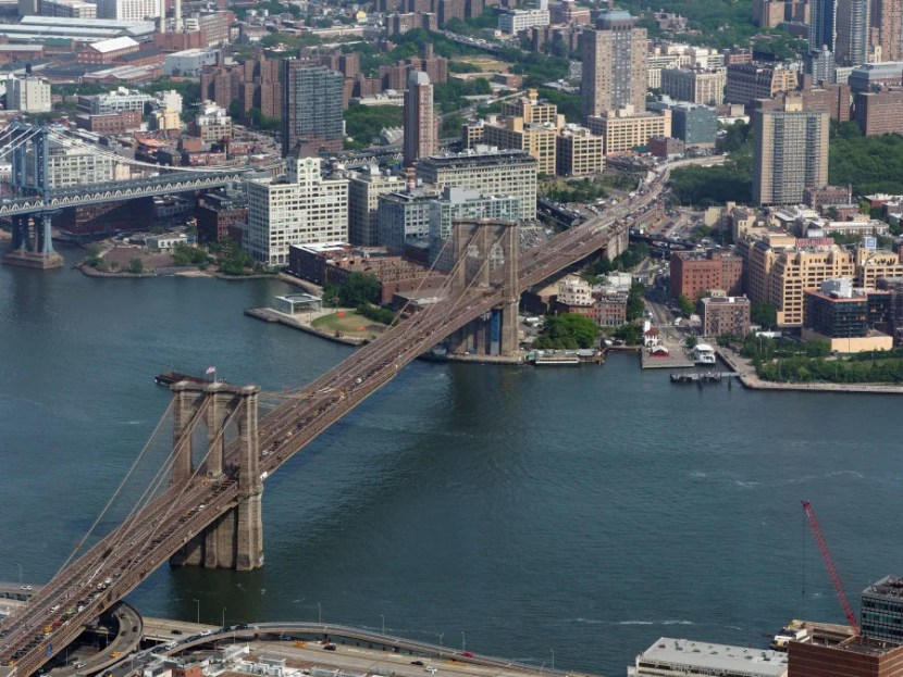To the east, you'll see the Brooklyn Bridge, DUMBO and the East River.