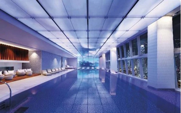 The Ritz-Carlton Hong Kong's indoor pool made our list for its fabulous views