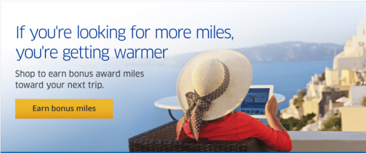 United's shopping portal allows you to top-up your MileagePlus account.