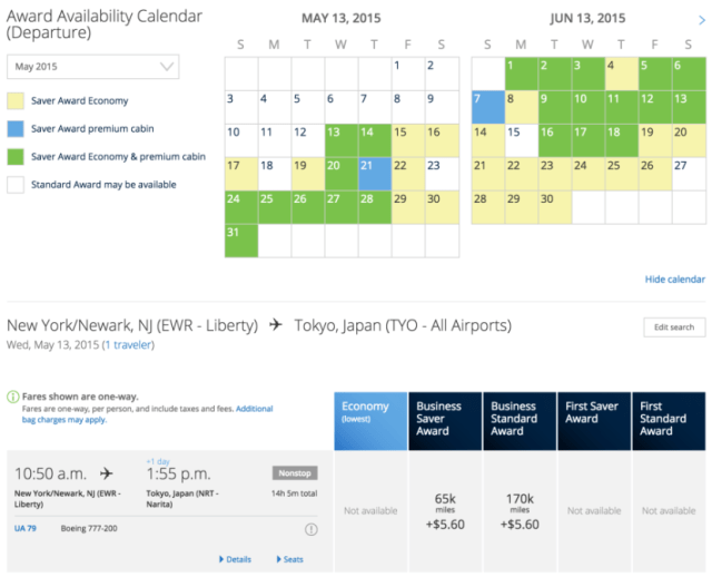 United's color-coded award calendar is available on the beta site.