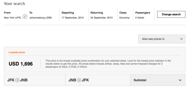 Head round-trip from New York to Johannesburg for $16,96 for two people.