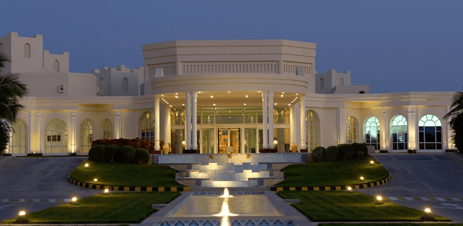 The exterior of the Hilton Salalah in Oman looks less like a hotel and more like a palace
