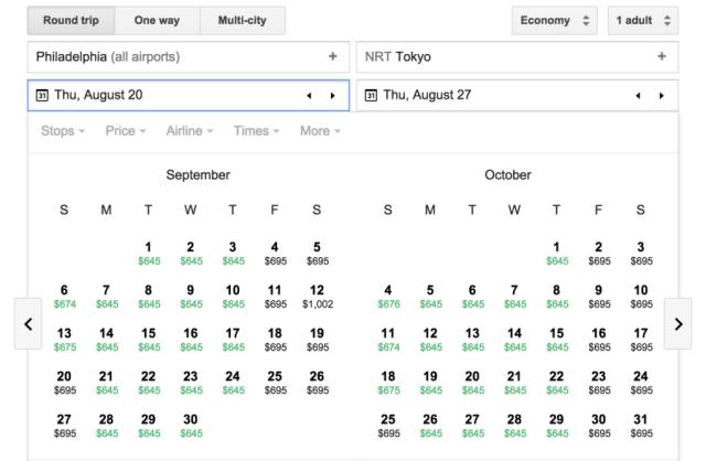 Availability from Philadelphia (PHL) on Google Flights.