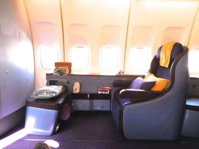 I flew Thai Airways' old 747-400 Royal First Class from Tokyo to Bangkok.