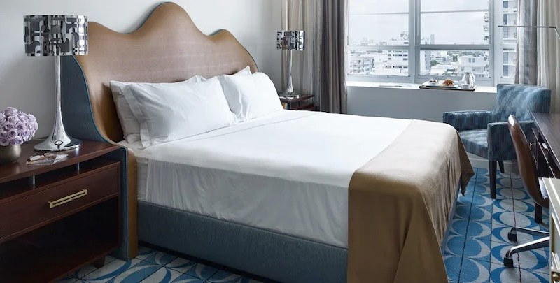 A guest room at the Shelbourne Wyndham Grand, where rates start at $250. Photo courtesy of Wyndham.