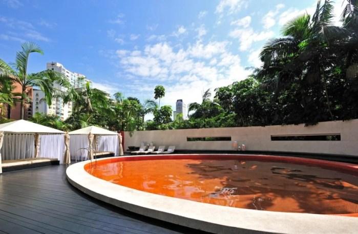 The small, disturbingly orange pool.