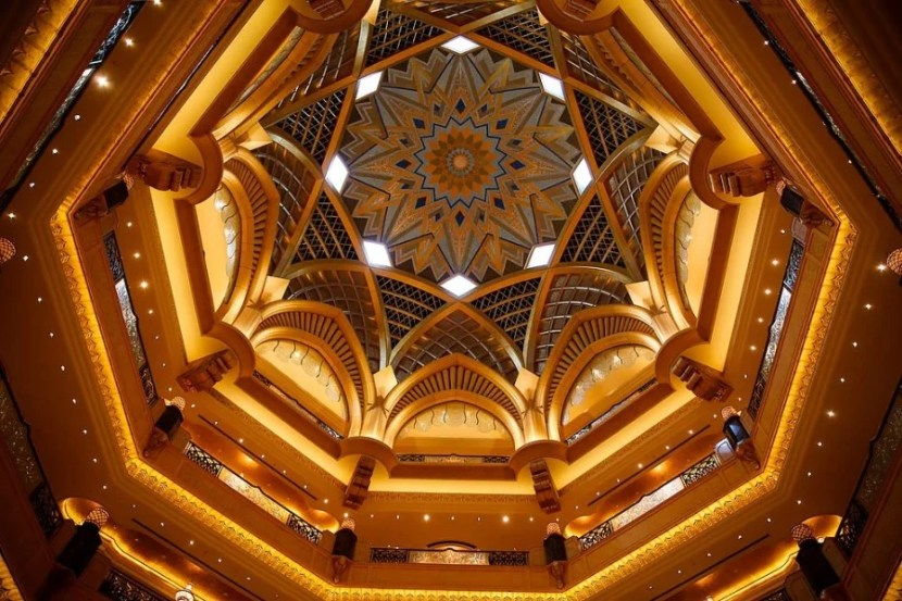 The interior of the dome at the Emirates Palace Hotel.