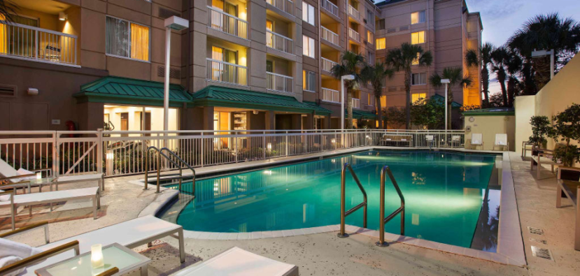 Room balconies at the Courtyard Orlando Downtown overlook the outdoor heated pool.